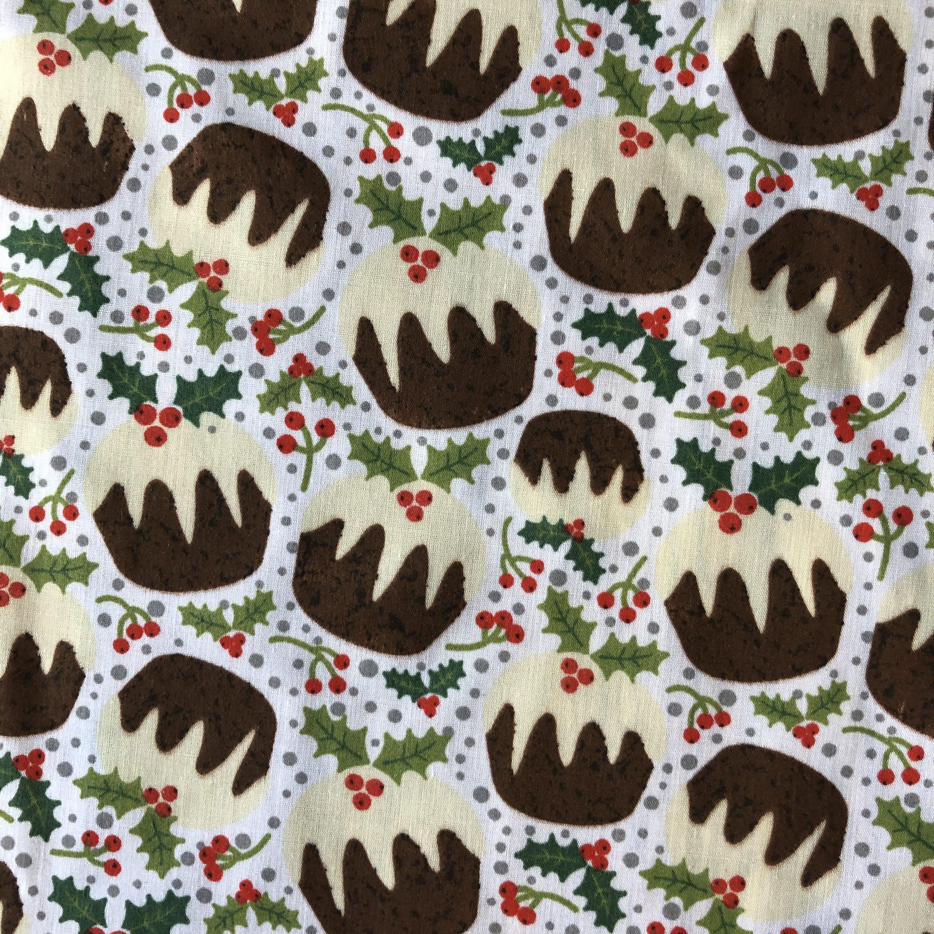 Sold per metre Christmas Puddings Print Polycotton Dress Fabric