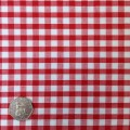 Red & White Gingham Fabric Standard 1/4 inch check