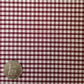 Burgundy & White Gingham Fabric Mini 1/8 inch check