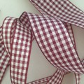 Burgandy Gingham Ribbon